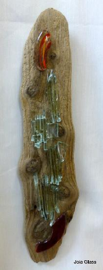 Driftwood panel with recycled glass