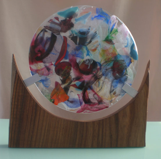 Lead Crystal Disc in Wooden Stand